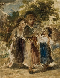children in forest with dog by diaz de la pena