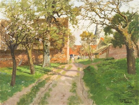 lane leading to country estate by frits thaulow