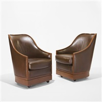 pair of lounge chairs from the four seasons, new york by i.m. pei