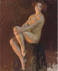 seated female nude by thomas cooper gotch