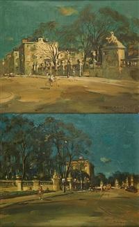 vue des environs du palais royal (2 works) by martin bolle
