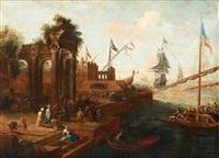 sydländsk hamnbild med figurer och fartyg by abraham jansz storck