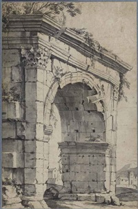 the arch of gallienus, rome by jan frans van bloemen