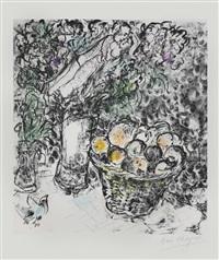 couple et panier de fruits by marc chagall