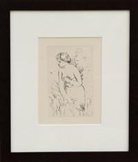 baigneuse debout, a mi-jambes by pierre-auguste renoir