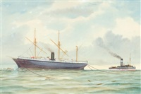 the steamer sorata & the tugboat albatross by george frederick gregory