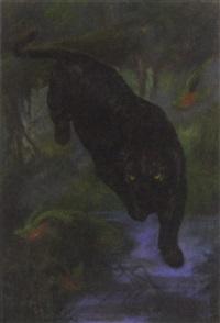 a black panther by john trivett nettleship