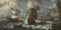 shipping off the coast near a mediterranean town by jan peeters the elder