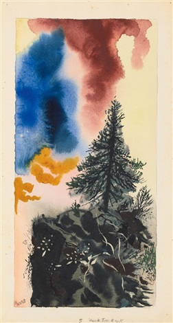 dark tree and rock by george grosz