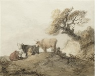 cattle grazing under a tree by thomas gainsborough