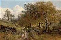 a shepherd and his flock on a country path (collab. w/joseph denovan adam) by joseph adam