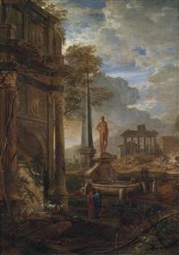 ideallandschaft mit figuren vor römischen ruinen by pierre antoine patel