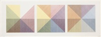 three squares with a different colour in each half square (divided vertically & horizontally) by sol lewitt