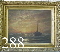 seascape with boat in rough water and dramatic sky with setting sun by w.h. de haas