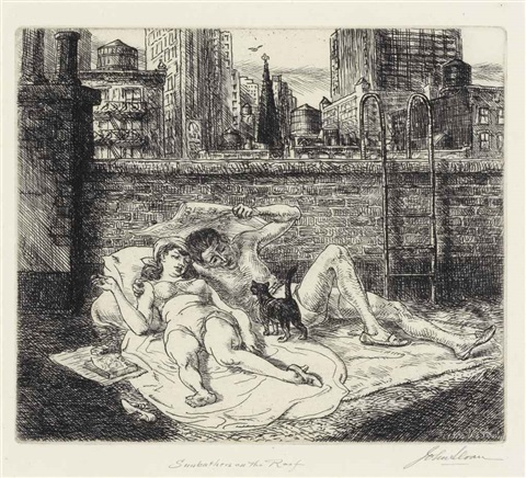 sunbathers on the roof by john french sloan