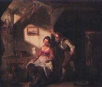 confidences. jeune couple dans un intérieur by leopold fissette