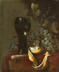 still life with knife and goblet by abraham van beyeren
