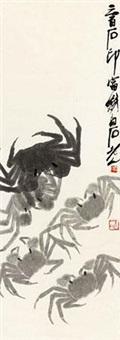 群蟹图 by qi baishi