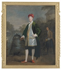 portrait of a gentleman (richard boyle?) with his gardener, james scott, before a pond (chiswick?) by william aikman