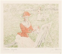 femme au chevalet (from l'album de 20 lithographies d'apres les tableaux de claude monet) by claude monet