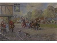 coaching scene outside an inn the jolly hatter by wilfred bailey