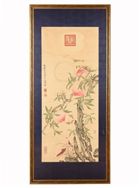 framed 'peaches' painting by empress dowager cixi