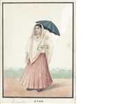 an ayah (nurse) standing in a landscape holding a parasol by muhammad amir