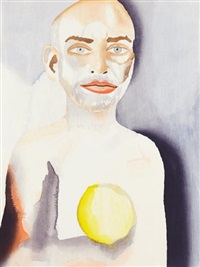 self-portrait with lemon heart by francesco clemente