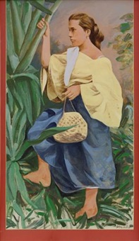 woman with a basket by benedicto cabrera