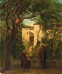 zwei franziskaner im garten eines italienischen klosters by johann eduard ihlee