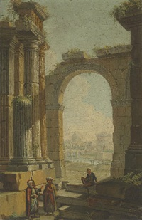 figures in oriental costume standing in classical ruins, the castel sant'angelo and dome of saint peter's beyond by gioacchino assereto