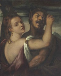 a satyr embracing a nymph by titian (tiziano vecelli)