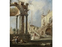 an architectural capriccio with figures beneath a ruined arch by francesco guardi