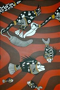 triptych pelican fishing by graham rennie biggibilla