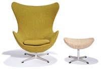 egg chairs and stools (4) model nos. 3317 (chair) and 3127 (stool) by arne jacobsen