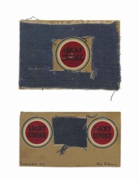 untitled (lucky strike insets in cut out of blue denim) (2 works) by ray johnson