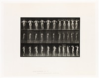 nude woman spinning with hands on hips, plate 531 from animal locomotion by eadweard muybridge