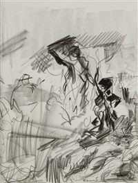 d'après delacroix, la liberté guidant le peuple (2 works) by farid aouad