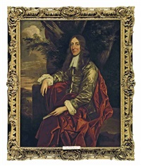 portrait of a gentleman (john evelyn?) diarist and writer in a brown satin coat and a red cloak holding a letter, seated in a landscape by john hayls