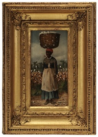 woman with basket of cotton on her head by william aiken walker