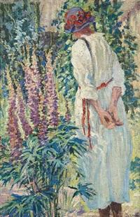 jeune fille au jardin by charles viane