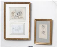 studies of monkey heads (2 works) by fernand cormon