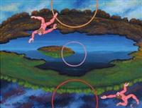 zwei fliegende männliche akte by robert zeppel-sperl