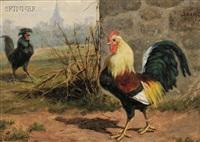 barnyard encounter (+ cockfight; 2 works) by william baptiste baird