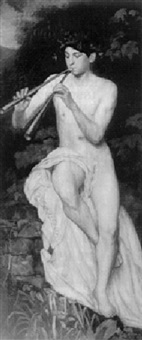 flöjtspelande pan by johann michael kupfer