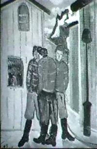 tre man i samtal utanfor rott hus by tord leander-engstrom