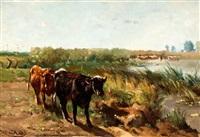 zomerse weide met koeien aan de waterkant by johannes hubertus leonardus de haas