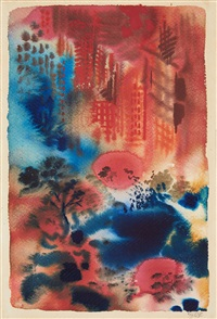 new york at night. central park by george grosz