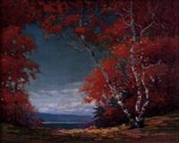 birch trees in fall by carl wendell rawson