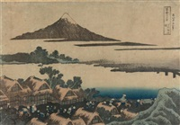 oban yoko-e de la série fugaku sanju rokkei, les trente-six vues du mont fuji, planche kôshû isawa no akatsuki, l'aube à isawa dans la province de kai by katsushika hokusai